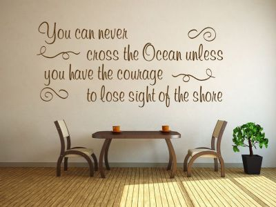 Inspirational Wall Quote Cross The Ocean Vinyl Sticker Wall Home Mural Decal